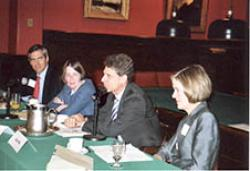 (From left) Craig Wasserman '86, Roberta Romano '80, Stephen Cutler '85, and Kate Stith