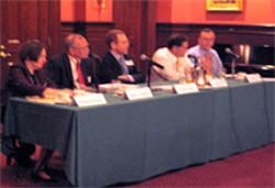(From Left) Roberta Romano '80, Daniel Goelzer, Robert Giuffra, Jr. '87, Jonny Frank LLM '83, and Rick Antle