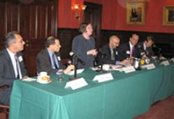 (From left) Warren Lavey, Stephen Heifetz, Roberta Romano '80, Welby Leaman '96, David Marchick, and Brad Setser