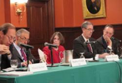 (From left) Marcel Kahan, Stephen Fraidin '64, Roberta Romano '80, Steven Rosenblum '82, John Levin '63.