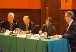 (From left) YLS Dean Robert Post '77, Hon. Leo Strine, Jr., Roberta Romano '80, and Steven Rosenblum '82
