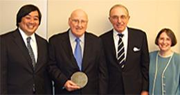 Dean Harold Hongju Koh, Hon. Ralph K. Winter '60, Robert Todd Lang '47, and Roberta Romano '80