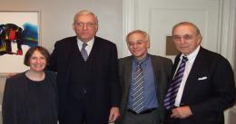 Roberta Romano '80, Arthur Fleischer, Jr. '58, Dean Robert Post '77, and Robert Todd Lang '47