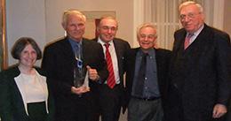 Roberta Romano '80, Hon. William B. Chandler III LLM '79, Robert Todd Lang '47, Dean Robert Post '77, and Arthur Fleischer, Jr. '58