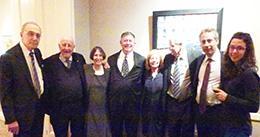 Robert Todd Lang '47, Hon. Guido Calabresi '58, Roberta Romano '80, Eugene W. Landy '58, Gloria Landy, Dean Robert Post '77, Michael Landy, and Monica Landy