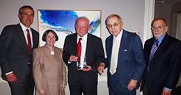 John Witt '99, Roberta Romano '80, John Langbein, Robert Todd Lang '47, and Deputy Dean Al Klevorick