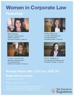 """Poster for the March 16, 2020 Career Panel on """"Women in Corporate Law"""""""