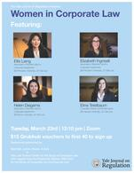 """Poster for the March 23, 2021 Career Panel on """"Women in Corporate Law"""""""