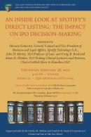 "Poster for the 2019 Panel Discussion on ""An Inside Look at Spotify's Direct Listing: The Impact on IPO Decision-Making"""