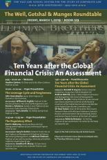Poster for the 2019 Weil, Gotshal & Manges Roundtable on Ten Years after the Global Financial Crisis: An Assessment.