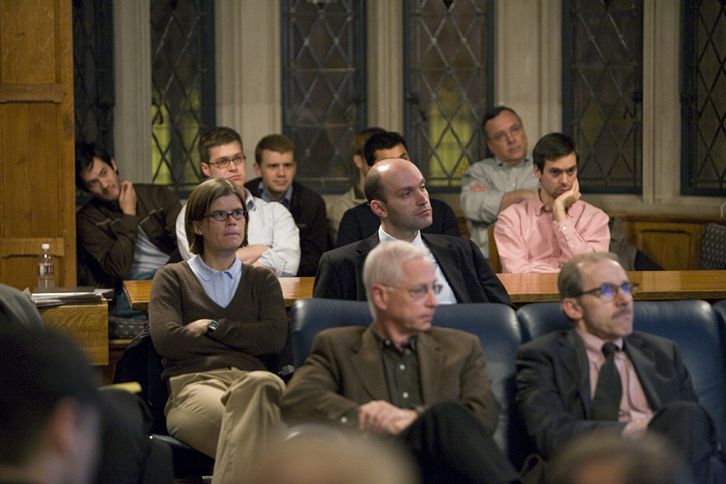 YLS Profs. Alan Schwartz '64 and Henry Hansmann '74 (front row) and Yale SOM Profs. Merle Ederhof and Nick Barberis (middle row)