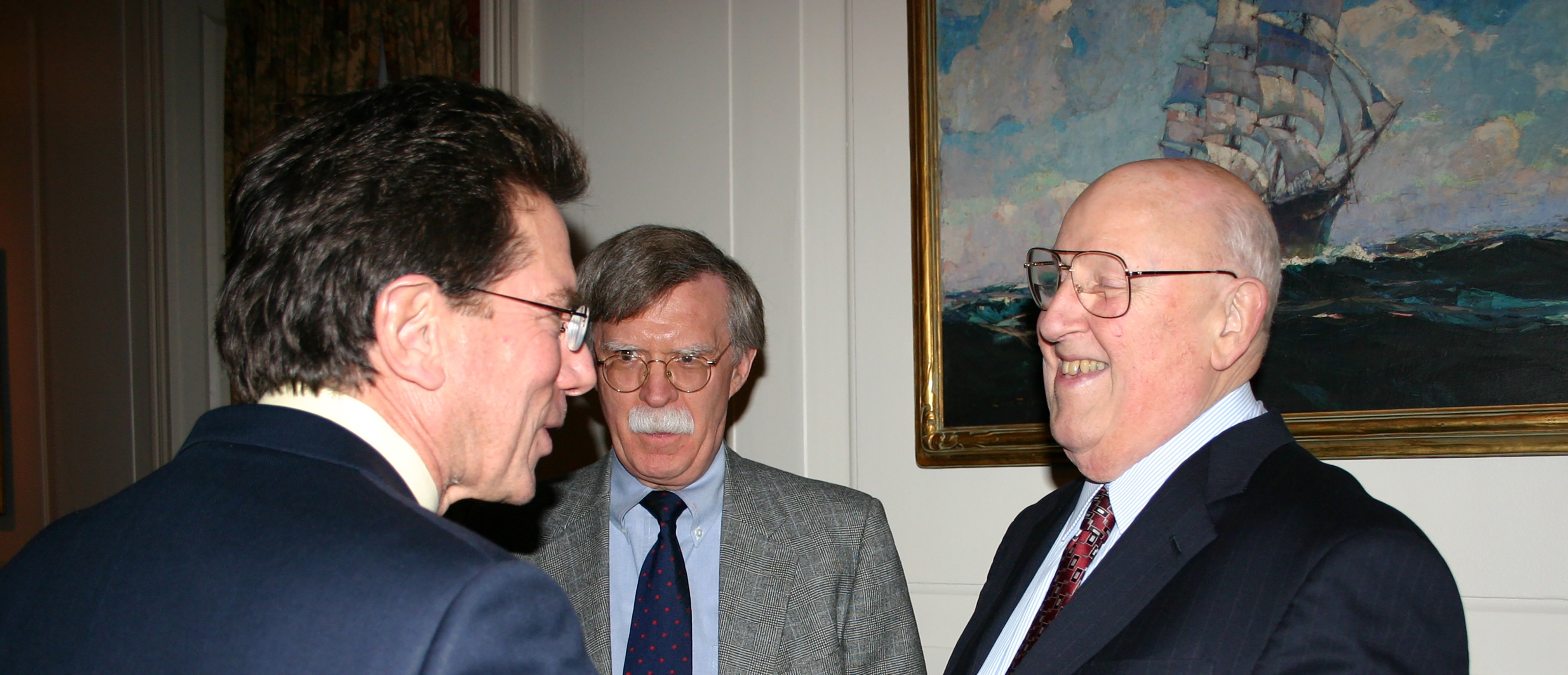 YLS Prof. Anthony Kronman '75, Ambassador John Bolton '74, and the Hon. Ralph Winter '60