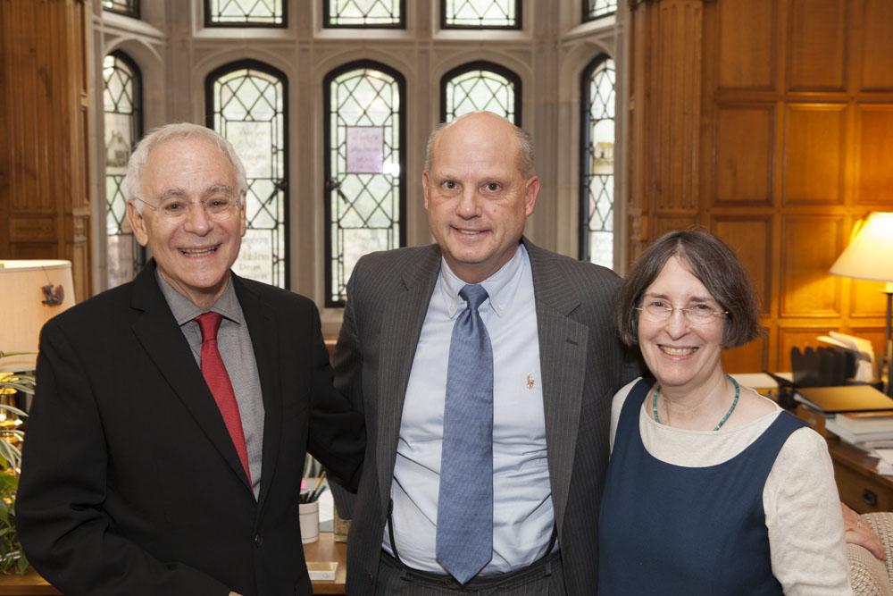 YLS Dean Robert Post '77, the Hon. Leo E. Strine, Jr., and YLS Prof. and Center Dir. Roberta Romano '80