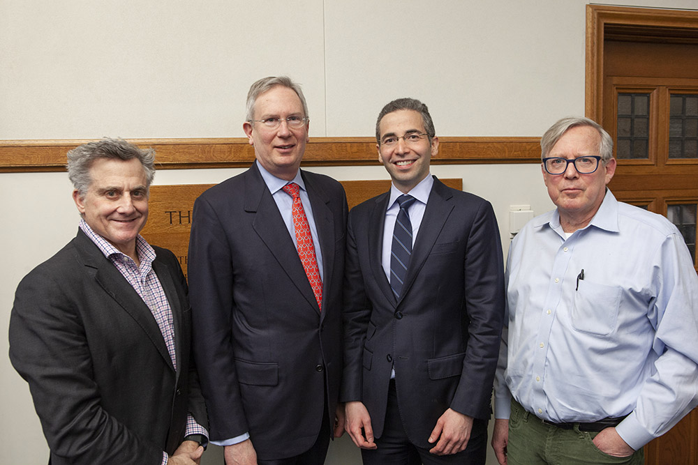YLS Prof. Jonathan R. Macey '82, UVA Law Prof. Paul G. Mahoney '84, USC Law Prof. Michael Simkovic, and Yale SOM Prof. Gary B. Gorton
