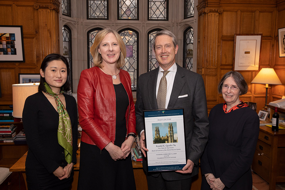 Center Exec. Dir. Nancy Liao '05, YLS Dean Heather Gerken, Randal K. Quarles '84, Vice Chair for Supervision, Board of Governors of the Federal Reserve System, and YLS Prof. and Center Dir. Roberta Romano '80