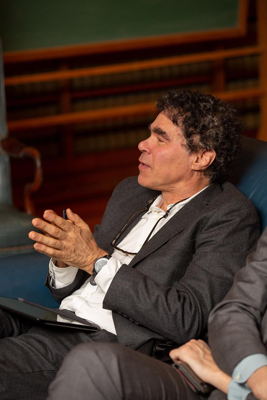 Yale Econ Prof. John Geanakoplos asking Vice Chair Randal K. Quarles '84 a question